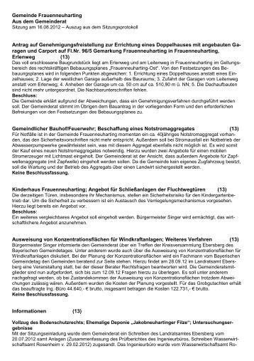 Niederschrift Gemeinderatssitzung Frauenneuharting 16.08.12