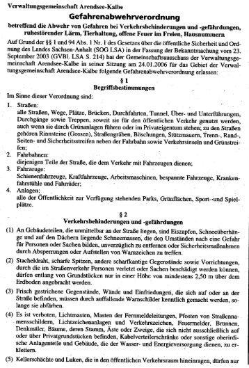 Gefahrenabwehrverordnung vom 15.02.2005 - FFW-Altmersleben
