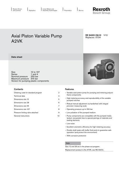 Axial Piston Variable Pump A2VK - Bosch Rexroth