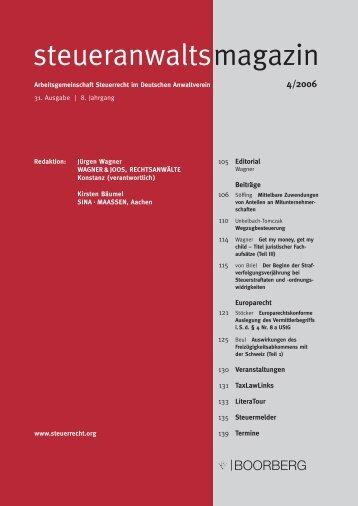 steueranwaltsmagazin Heft 4 2006 - Wagner-Joos Rechtsanwälte
