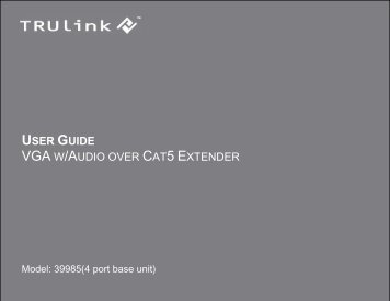 USER GUIDE VGA W/AUDIO OVER CAT5 EXTENDER - Cables To Go