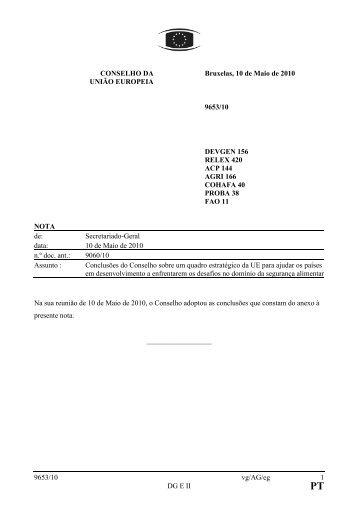 9653/10 vg/AG/eg 1 DG E II CONSELHO DA UNIÃO EUROPEIA ...
