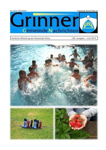 Amtliche Mitteilung der Gemeinde Grins 126 ... - Grins - Land Tirol
