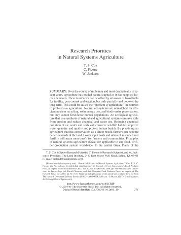 Research Priorities in Natural Systems Agriculture - The Land Institute