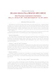 Press Release Milano Unica Fall/Winter 2011/2012 New Piacenza ...