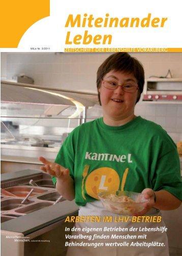 ARBEITEN IM LHV-BETRIEB - Lebenshilfe Vorarlberg
