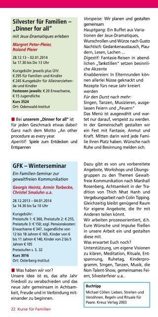 Kurse für Familien, Kinder und Jugendliche 2013 ... - Odenwald-Institut