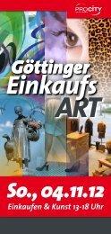 So., 04.11.12 Einkaufen & Kunst 13-18 Uhr - Pro City GmbH