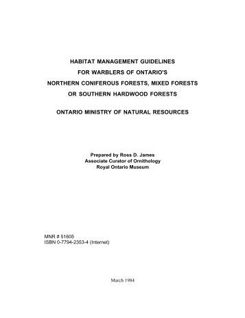 Habitat Mangement Guidelines for Warblers of Ontario - Ministry of ...