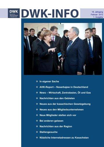 DWK-Info Kasachstan 2012-01+02 - AHK Zentralasien - AHKs