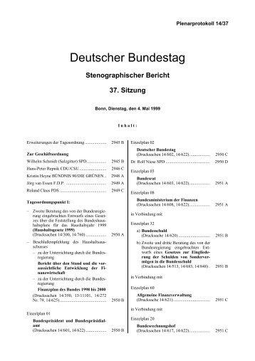 Stenographischer Bericht 37. Sitzung - Deutscher Bundestag