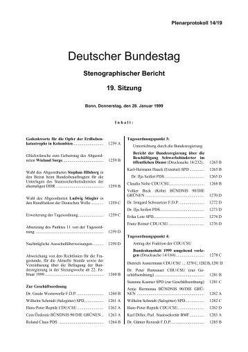 Stenographischer Bericht 19. Sitzung - Deutscher Bundestag