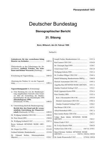 Stenographischer Bericht 21. Sitzung - Deutscher Bundestag