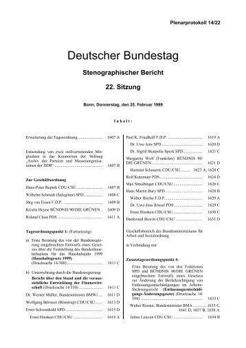 Stenographischer Bericht 22. Sitzung - Deutscher Bundestag