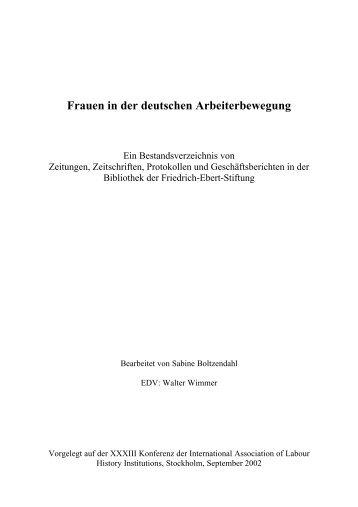 Frauen in der deutschen Arbeiterbewegung - Bibliothek der ...