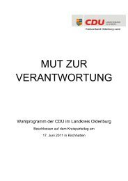 Wahlprogramm - CDU Kreisverband Oldenburg-Land
