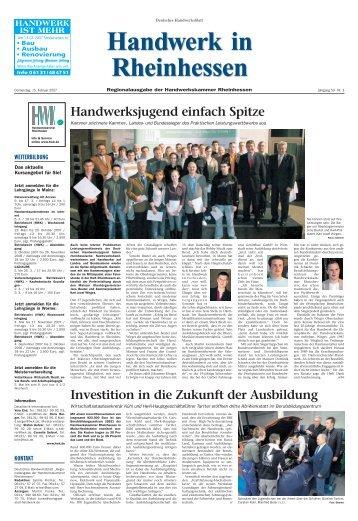 Handwerksjugend einfach Spitze - Handwerkskammer Rheinhessen