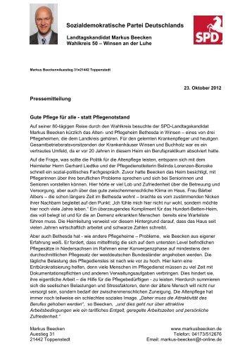 Pressemitteilung Gute Pflege für alle - statt ... - Markus Beecken
