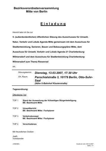 Bezirksverordnetenversammlung Mitte von ... - Frank Bertermann
