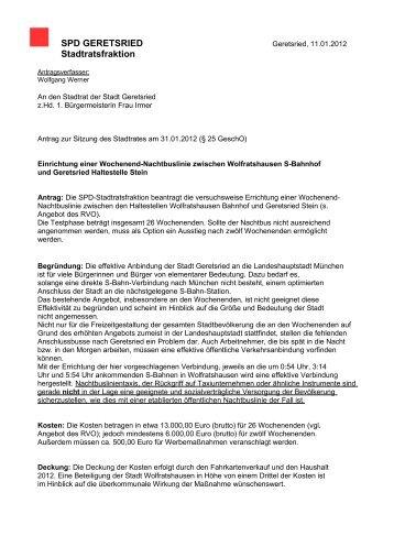 zum Antrag der SPD Stadtratsfraktion - SPD Geretsried