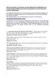 Kleine Auswahl von Literatur aus dem Bestand der Bibliothek der ...