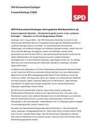 SPD‐Kreisverband Esslingen Pressemitteilung 7/2009