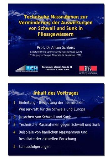 Verbesserung der Habitatsbedingungen bei Schwall und ... - wa21.ch