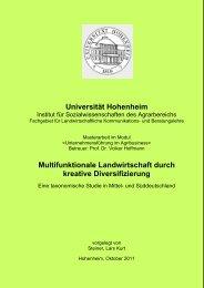 Multifunktionale Landwirtschaft durch kreative Diversifizierung - und ...