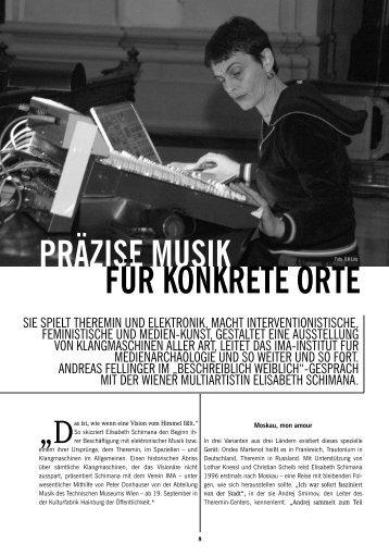 PRÄZISE MUSIK FÜR KONKRETE ORTEFoto - Elisabeth Schimana