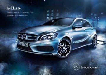 Preisliste A-Klasse - Mercedes-Benz Deutschland