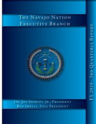 The Navajo Nation - FY 2010 - Executive Branch 3rd Quarter Report