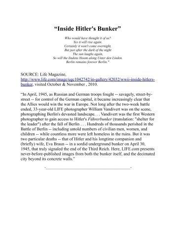 """""""Inside Hitler's Bunker"""""""