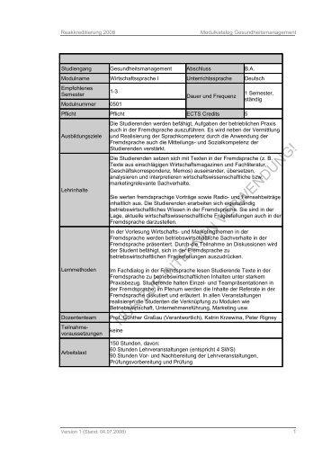 Reakkreditierung 2008 Modulkatalog Gesundheitsmanagement ...