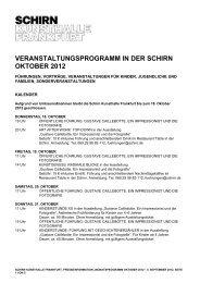 veranstaltungsprogramm in der schirn oktober 2012