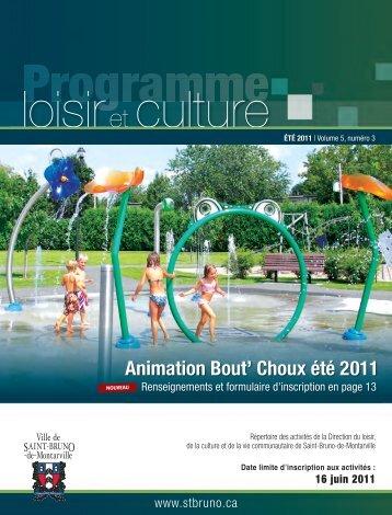 Programme de loisirs - été 2011- Ville de Saint-Bruno-de-Montarville