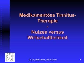 Medikamentöse Tinnitus-Therapie - HNO-Praxis Asslar Dr. Silberzahn