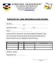 Antrag für An-oder Abmeldung eines Hundes - Gemeinde Gnadendorf