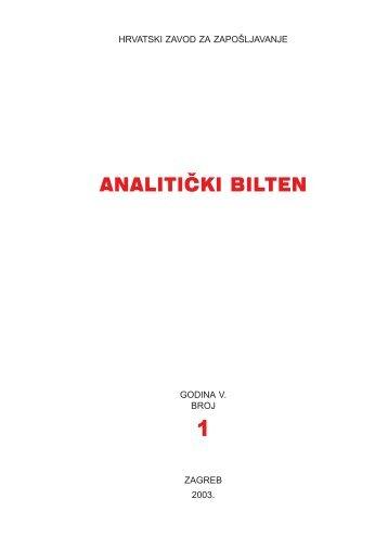 Analitički bilten, godina V., 2003., broj 1 - Hrvatski zavod za ...