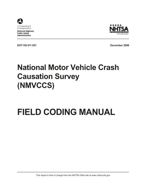 field coding manual - National Highway Traffic Safety ...