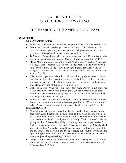 raisin in the sun quotations for writing the family