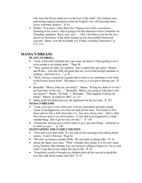 RAISIN IN THE SUN QUOTATIONS FOR WRITING THE FAMILY ...