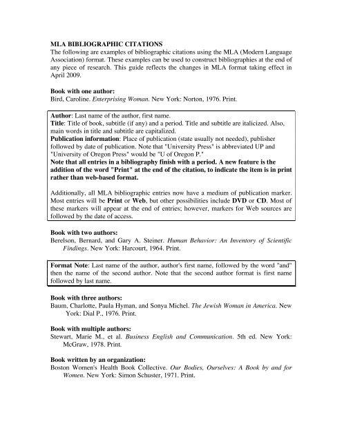 Mla Bibliographic Citations Lane Community College