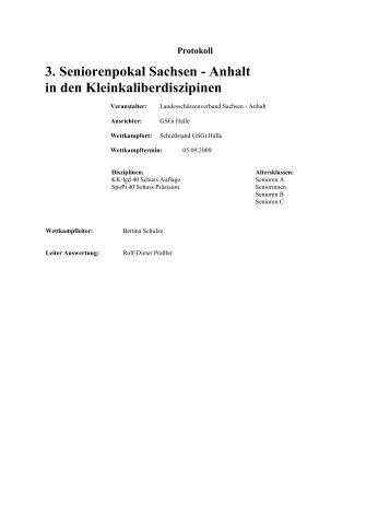 3. Seniorenpokal Sachsen - Anhalt in den Kleinkaliberdiszipinen