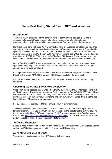 Serial Port Using Visual Basic  NET and Windows