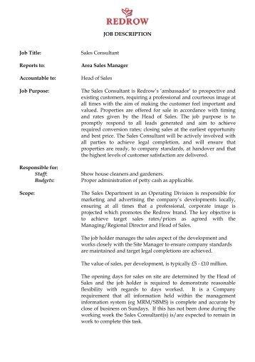 JOB DESCRIPTION Job Title: Sales Consultant ...   Redrow PLC
