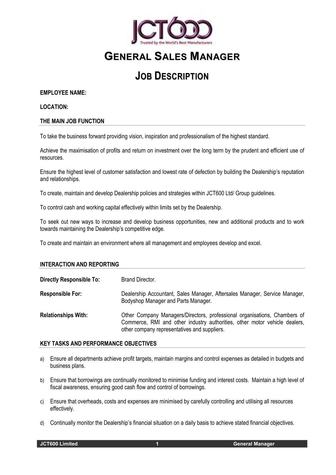 general manager job description sample business contracts