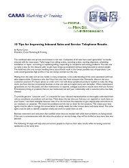 10 Tips for Improving Inbound Sales and Service ... - CRMXchange