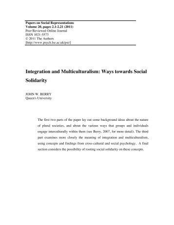 Integration and Multiculturalism: Ways towards Social Solidarity