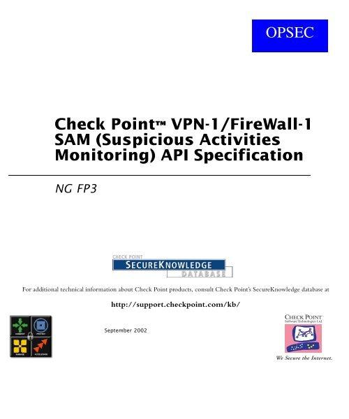Check Point™ VPN-1/FireWall-1 SAM (Suspicious     - Index of