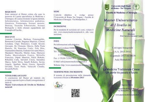 Master Universitario di I livello in Medicine Naturali Master ...